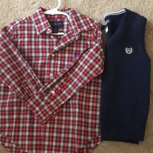 Ralph Lauren button up and sweater vest